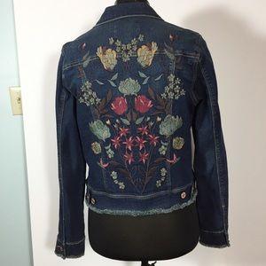 Nine West Embroidered Denim Jacket Green Pink M